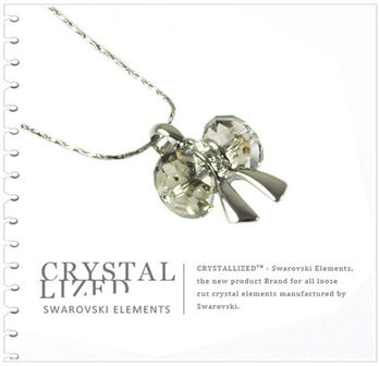 新光飾品-灰色魅影韓版蝴蝶結水晶項鏈