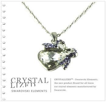 新光飾品-紫色魅影心形水晶項鏈