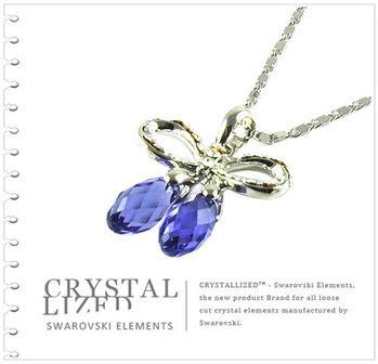 新光飾品-紫藍色魅影蝴蝶結水晶項鏈