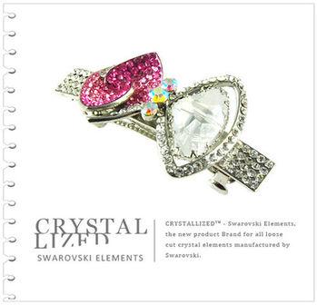 新光飾品-白金陰影蝴蝶結水晶髮飾
