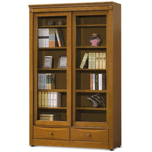 【MY傢俬】英式古典4尺推門下抽實木書櫃