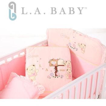 【美國 L.A. Baby】熊寶貝純棉七件式寢具組(L)(MIT 藍色/粉色/米色)