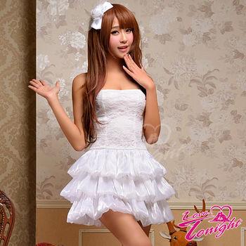 【Sexy Queen】雪白的平口短洋裝多層次的蛋糕裙夢幻化身公主角色扮演服