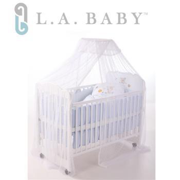 L.A BABY 豪華全罩式嬰兒床蚊帳(加大加長型)白色