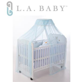 L.A BABY 豪華全罩式嬰兒床蚊帳(加大加長型)-藍色