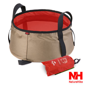 Naturehike 輕量耐磨折疊洗臉盆.儲水盆.水桶-10L(附收納袋)(橘紅)