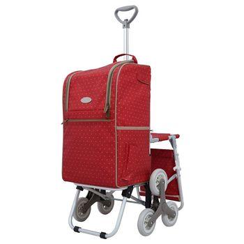 卡蘿輕便時尚購物車-28L三輪有椅-紅色水玉