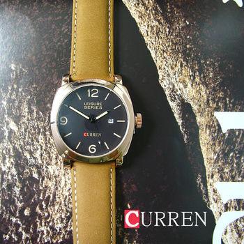 CURREN質感簡約黑面麂皮軍錶