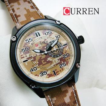 CURREN潮流假眼圖樣迷彩帆布錶