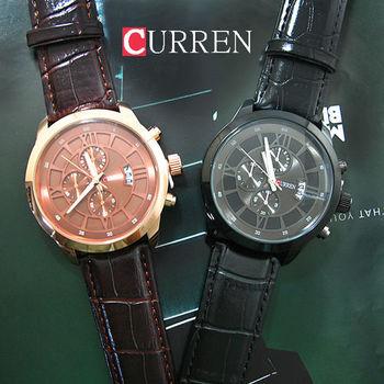 CURREN時尚羅馬數字假三眼皮革錶
