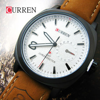 CURREN簡約立體刻度 假眼麂皮軍錶