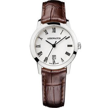 AEROWATCH 羅馬佳人經典時尚女錶-白x咖啡/29mm A17973AA01