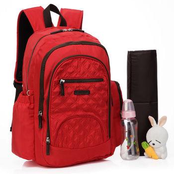 Colorland高雅格紋空氣包後背媽媽包-紅色