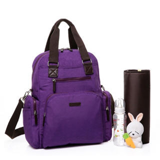 Colorland百變功能多收納後背媽媽包-紫色