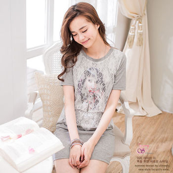 I-Sweety蕾絲可愛版女生圖案短袖洋裝M-XXXL