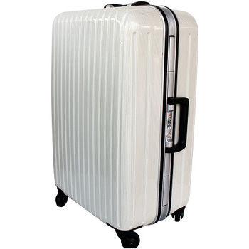 【YC Eason】名將系列璀璨鏡面鋁框PC行李箱(24吋-格子白)