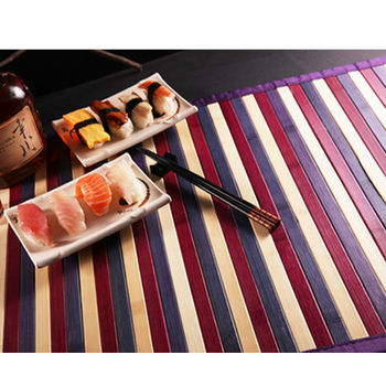 【HomeBeauty】 東方米蘭諾100%天然竹防滑墊-餐墊(紫竹彩條)