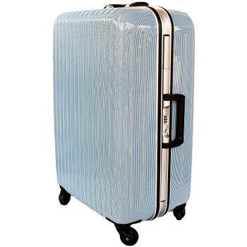 【YC Eason】名將系列璀璨鏡面鋁框PC行李箱(28吋-格子藍)