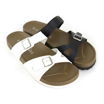 【Pretty】輕夏悠閒舒適交叉扣環平底拖鞋-白色、黑色