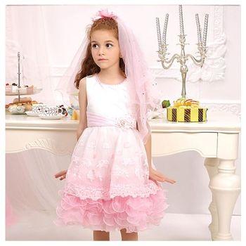 花瓣蕾絲洋裝-甜美粉紅色