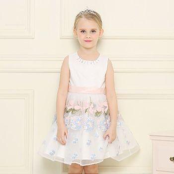 法式手工刺繡洋裝-甜粉色