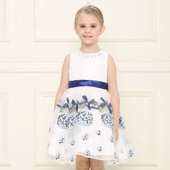 法式手工刺繡洋裝-寶藍色