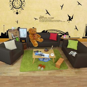 時尚屋 [ZU]小龐帝克實木腳皮1+2+3沙發組ZU5-1