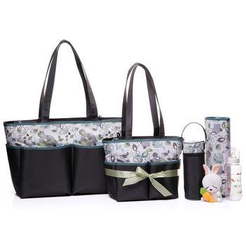 Colorland高雅大方媽媽包五件套裝大+小號-灰色柳樹情緣