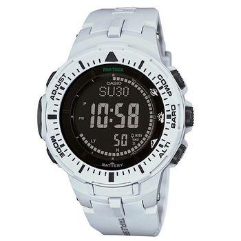 CASIO PRO TREK 原野馳騁的強悍風格登山運動腕錶-雪白-PRG-300-7