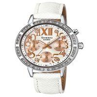 CASIO SHEEN 藝術造詣的迷人風采 皮革腕錶 ^#45 白 ^#45 SHE ^#
