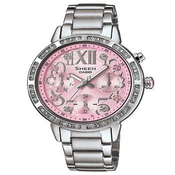 CASIO SHEEN 藝術造詣的迷人風采時尚優質鋼帶腕錶-粉紅-SHE-3036D-4A