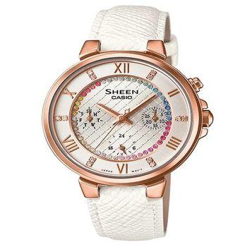CASIO SHEEN 高雅女性的迷人風采時尚優質皮革腕錶-白+玫瑰金-SHE-3041PGL-7A