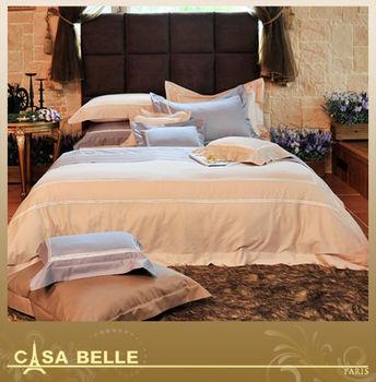 法國CASA BELLE《典藏雅爵》雙人刺繡金埃及棉四件式被套床包組(二色任選)