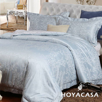 【HOYACASA】時光悸動 雙人四件式絲棉緹花被套床包組
