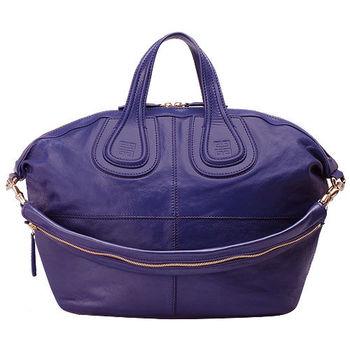 GIVENCHY NIGHTINGALE BAG MED山羊皮手提/肩背二用包(中-紫羅藍)