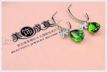 新光飾品-新款施華洛水晶綠色水滴耳環