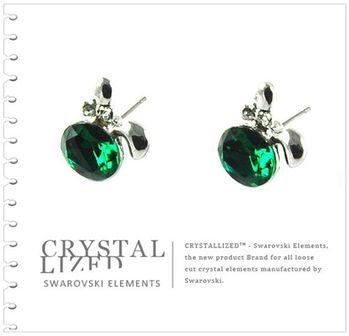 新光飾品-綠色魅影蘋果水晶耳環