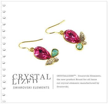 新光飾品-紅色魅影水滴形水晶耳環