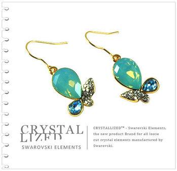 新光飾品-藍色魅影水滴形水晶耳環