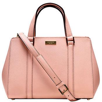【KATE SPADE】氣質粉紅簡約皮革手提斜肩背兩用包