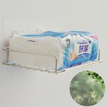 《舒適屋》魔力霧面無痕貼系列-304不鏽鋼平版衛生紙架