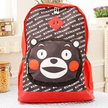 Kumamon熊本熊 可愛豬鼻後背書包/後背包-黑色
