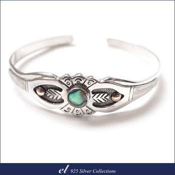 【el 925銀飾】藍鮑貝純銀手環 Phoenix