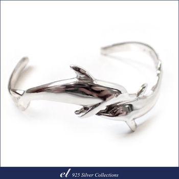 【el 925銀飾】雙海豚純銀手環 Nimble