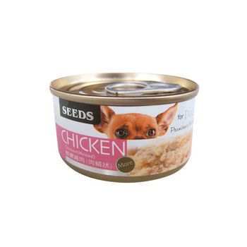 【SEEDS】CHICKEN愛狗天然食-鮮嫩雞肉(肉絨) 狗罐 70g X 24入
