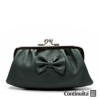 【Continuita 真皮屋】台灣手工真皮包 MIT 雙夾層蝴蝶零錢包-墨綠色
