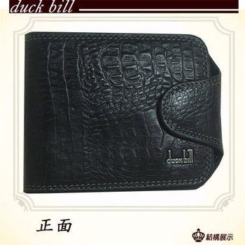 duck bill鱷魚壓紋橫式帶釦牛皮短夾