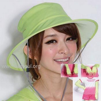 【SUNSOUL】光能帽-圓筒帽+袖套組(黃光)