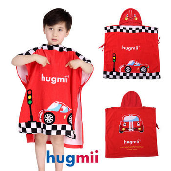 【hugmii】童趣造型兒童連帽浴袍   賽車