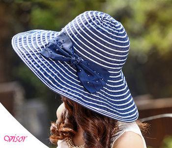 【Life Queen】夏日時尚~大帽沿條紋蝴蝶結遮陽帽